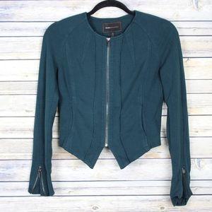 BCBGMaxAzria Cropped Moto Zip Blazer Fern Green